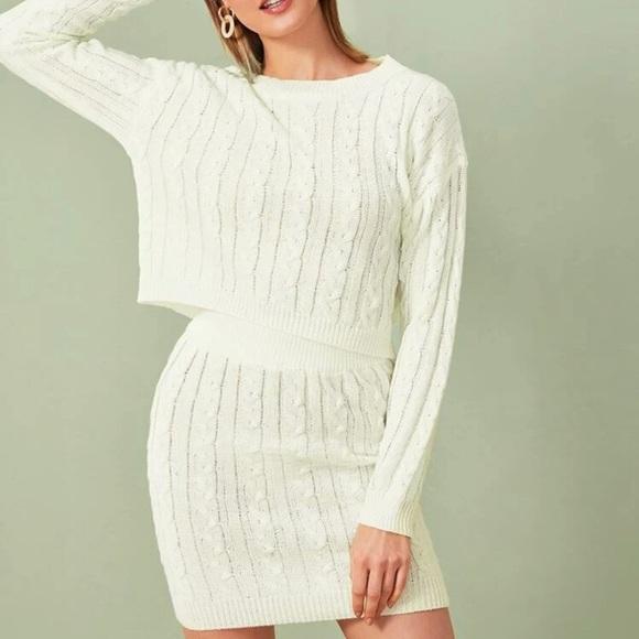 Two piece cream sweater/skirt set